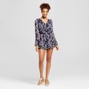 Floral Lace-Up Bell Sleeve Romper